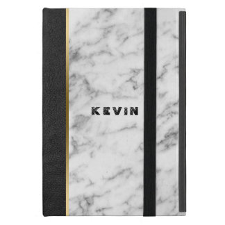 Image Of Black Leather & White Marble Case For iPad Mini