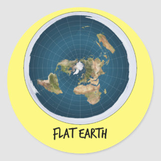 Image Of Flat Earth Round Sticker