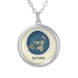 Image Of Flat Earth Silver Plated Necklace