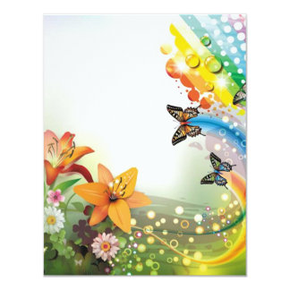 """image of flowers and butterflies 4.25"""" x 5.5"""" invitation card"""