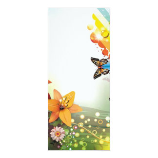 """image of flowers and butterflies 4"""" x 9.25"""" invitation card"""