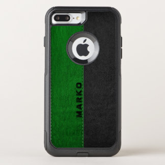 Image Of Green & Black Vintage Leather Monogram OtterBox Commuter iPhone 8 Plus/7 Plus Case
