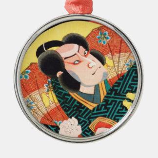 Image of kabuki actor on folding fan Utagawa ukiyo Silver-Colored Round Ornament