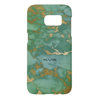 Image Of Marble Texture In Green & Gold Samsung Galaxy S7 Case