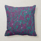 Image of swirly purple and turquoise glitter throw pillow