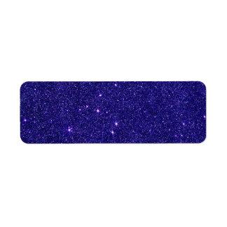 Image of trendy blue glitter return address label