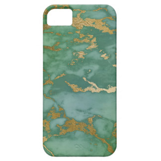 Image Of Trendy Marble Texture In Green & Gold iPhone 5 Covers