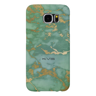 Image Of Trendy Marble Texture In Green & Gold Samsung Galaxy S6 Cases