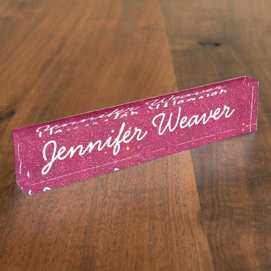 Image of Trendy Pink Glitter Desk Nameplates