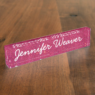 Image of Trendy Pink Glitter Nameplate