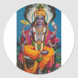 Image of Vishnu, god of harmony and truth Classic Round Sticker