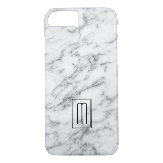 Image Of White & Grey Marble Texture Monogram iPhone 7 Case
