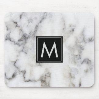 Image Of White Marble Stone Monogram Mouse Pad