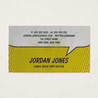 Image tramée vintage de jaune de bande dessinée cartes de visite
