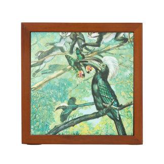 Image verte tropicale, oiseau et Monkies