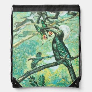 Image verte tropicale oiseau et Monkies Sac Avec Cordons