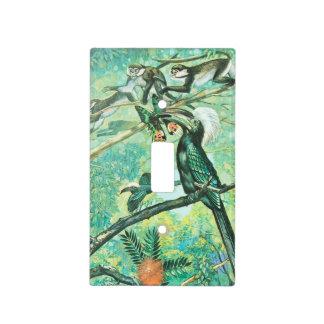 Image verte tropicale, oiseau et Monkies Plaques Interrupteur De Lumière