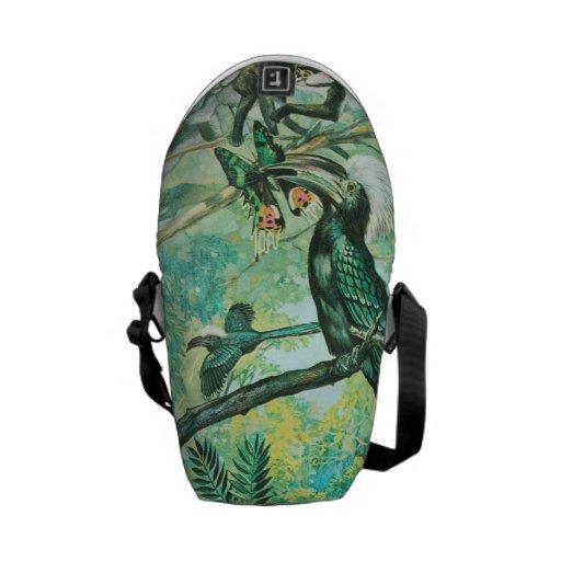 Image verte tropicale, oiseau et Monkies Besaces
