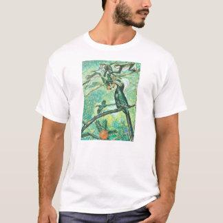 Image verte tropicale, oiseau et Monkies T-shirt
