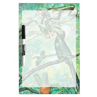 Image verte tropicale, oiseau et Monkies Tableau Effaçable À Sec