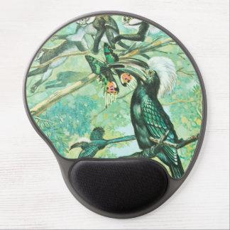 Image verte tropicale, oiseau et Monkies Tapis De Souris En Gel