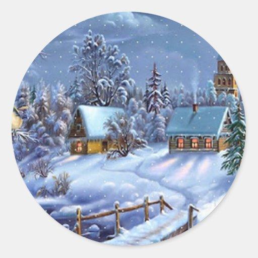 Image vintage classique et belle de Noël Autocollants Ronds