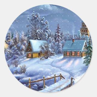 Image vintage classique et belle de Noël Sticker Rond