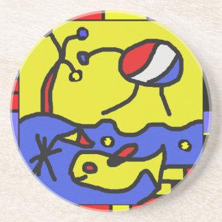 Image with fish modern art beverage coaster