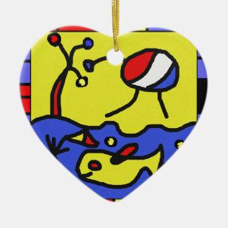 Image with fish modern art ceramic heart ornament