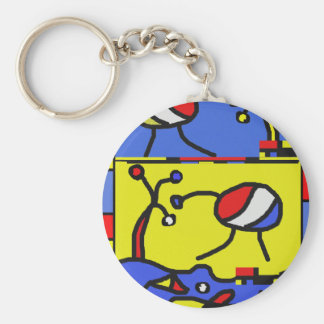 Image with fish modern art keychain