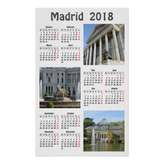 Images of Madrid 2018 calendar Poster