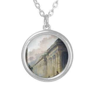 Imaginary View of Rome with Equestrian Statue Silver Plated Necklace