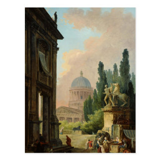 Imaginary View of Rome with the Horse-Tamer Postcard
