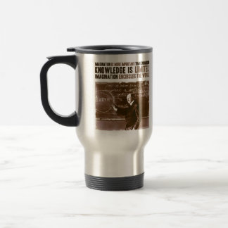 Imagination is more important than knowledge 15 oz stainless steel travel mug