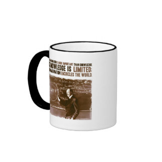 Imagination is more important than knowledge ringer coffee mug