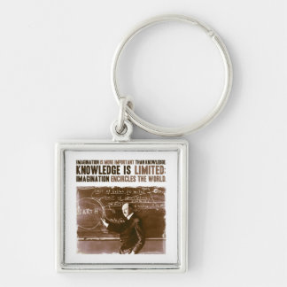 Imagination is more important than knowledge Silver-Colored square keychain
