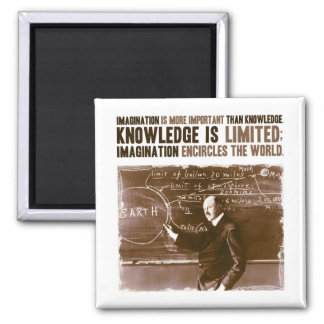 Imagination is more important than knowledge square magnet