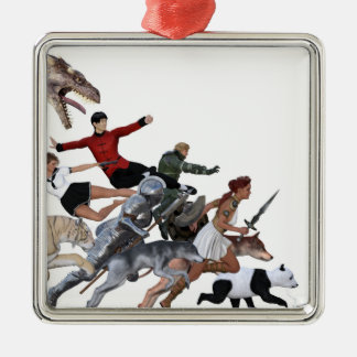 Imagination of a Child with Her Army of Friends Silver-Colored Square Ornament