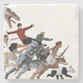 Imagination of a Child with Her Army of Friends Stone Coaster