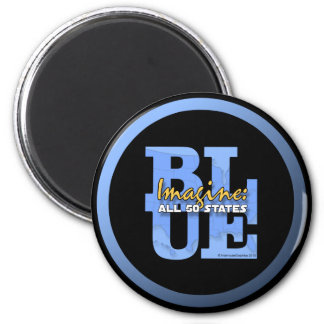 Imagine All 50 States Blue 2 Inch Round Magnet