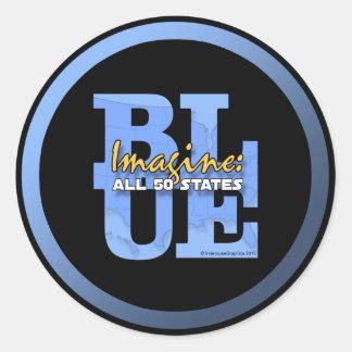 Imagine All 50 States Blue Round Sticker