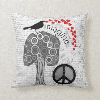 """Imagine"" Art Pillow Peace Symbol Design"