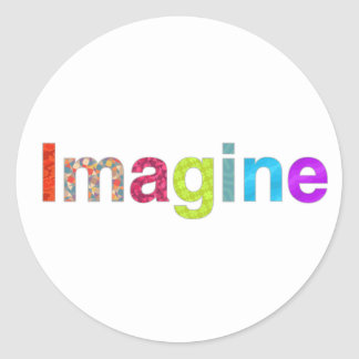 Imagine fun inspiration colorful Card Classic Round Sticker