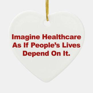 Imagine Healthcare People's Lives Depend On Ceramic Heart Ornament