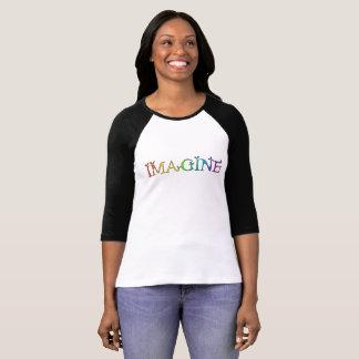 Imagine, inspirational rainbow motif T-Shirt
