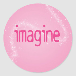 Imagine on a Pink Pattern Round Sticker