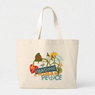 Imagine Peace Abstract Art Large Tote Bag