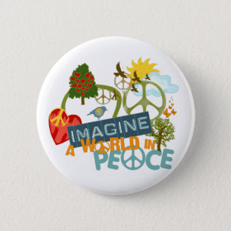 Imagine Peace Abtract Art 2 Inch Round Button