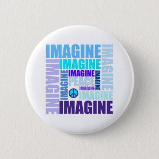 'Imagine Peace' Blue 2 Inch Round Button