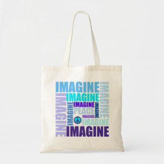 'Imagine Peace' Blue Budget Tote Bag